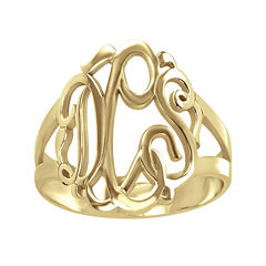 Personalized 14K Gold Over Sterling Silver Monogram Ring