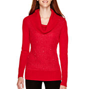 by&by Long-Sleeve Sequin Cowlneck Sweater
