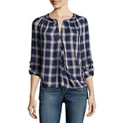 a.n.a® Long-Sleeve Front-Tab Blouse