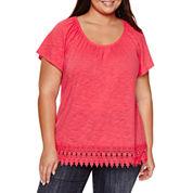 St. John`s Bay Short Sleeve Round Neck T-Shirt-Plus