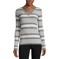 Ohmg Long Sleeve V Neck Pullover Sweater-Juniors