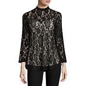 by&by 3/4 Sleeve Scoop Neck Lace Blouse-Juniors