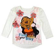 Disney By Okie Dokie Girls Long Sleeve Moana Graphic T-Shirt - Toddler