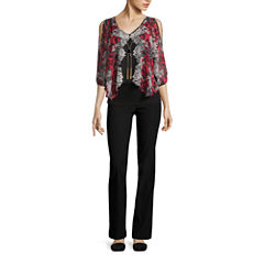 BY PRINTED NECKLACE TOP WITH BY SKINNY PANT