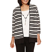 Alfred Dunner Wrap It Up 3/4 Sleeve Crew Layered Top