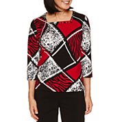Alfred Dunner Wrap It Up 3/4 Sleeve Square Neck T-Shirt