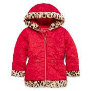 Pistachio Heart Quilted Animal-Print Jacket - Preschool Girls 4-6x