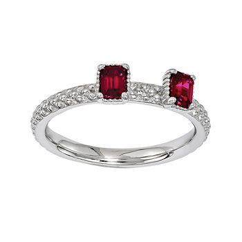 Personally Stackable Lab created Ruby Sterling Silver 2 stone Stackable Ring