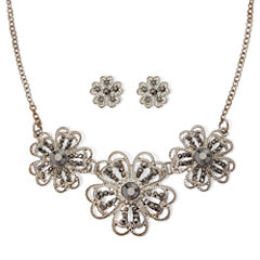 Liz Claiborne® Marcasite Silver-Tone Flower Earring and Necklace Set