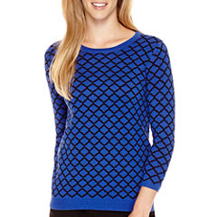 Liz Claiborne® 3/4-Sleeve Patterned Crewneck Sweater