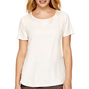 Liz Claiborne® Short-Sleeve Beaded-Neck Blouse