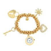 Monet Jewelry Goldtone Stretch Watch Charm Bracelet