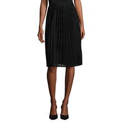 Worthington Solid Woven Pleated Skirt