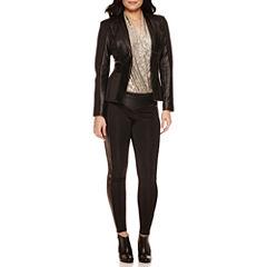 Bisou Bisou® Long Sleeve Seamed Jacket, Surplice Sleeveless Bodysuit & Solid Ponte Piped Leggings