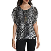 Alyx Short Sleeve Scoop Neck Chiffon Blouse