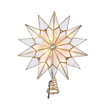 Kurt Adler Kurt Adler 10 light Capiz Double Tip Star With Center Gem Treetop Star Tree Topper