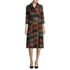 Robbie Bee 3/4 Sleeve Fit & Flare Dress