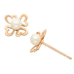Round White Pearl 14K Gold Stud Earrings