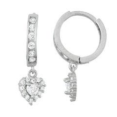 White Cubic Zirconia Sterling Silver Hoop Earrings