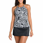 Jamaica Bay® Tidal Swirl Adjustable Highneck with Underwire Tankini Swim Top