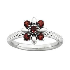 Personally Stackable Genuine Garnet Flower Ring