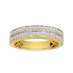 1/2 CT. T.W. Certified Diamond 14K Yellow Gold Vintage-Style Wedding Band