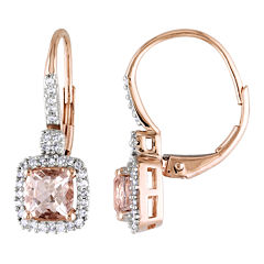 Genuine Morganite & Diamond Leverback Earrings