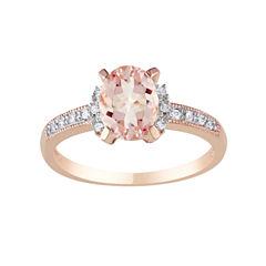 Pink Morganite Diamond-Accent Ring