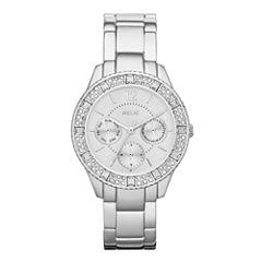 Relic® Sophia Womens Crystal-Accent Silver-Tone Bracelet Sport Watch ZR15739