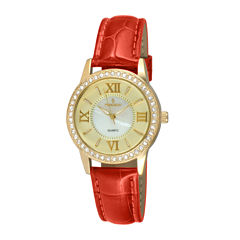 Peugeot® Womens Crystal-Accent Red Leather Strap Watch 3044GRD