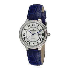 Peugeot® Womens Crystal-Accent Blue Leather Strap Watch 3043SBL