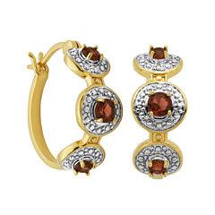 Classic Treasures™ Genuine Garnet and Diamond-Accent Hoop Earrings
