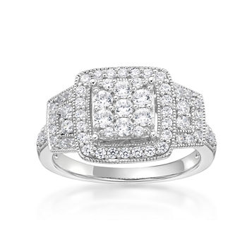 Diamonart Womens 34 Ct Tw White Cubic Zirconia Sterling Silver Cocktail Ring