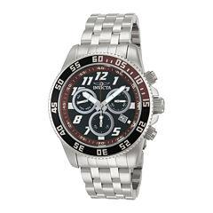 Invicta® Pro Diver Mens Silver-Tone & Brown Chronograph Watch 14512