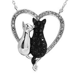 ASPCA® Tender Voices™ ⅓ CT. T.W. White & Color-Enhanced Black Diamond Cat Pendant Necklace