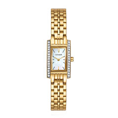 Citizen® Womens Crystal-Accent Rectangular Gold-Tone Stainless Steel Bracelet Watch EZ6352-58D
