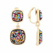 Liz Claiborne Multi Color Goldtone Clip On Earrings