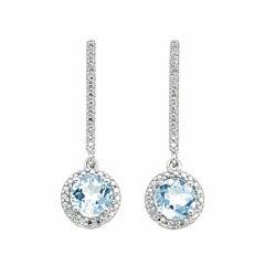 Diamond Accent Blue Topaz Sterling Silver Drop Earrings