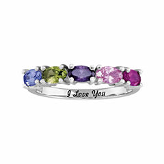 Personalized Birthstones Engravable Side Stone Ring