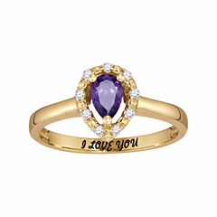 Personalized Birthstone & Cubic Zirconia Halo Ring