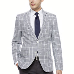 The Savile Row Navy White Plaid Sport Coat-Slim Fit