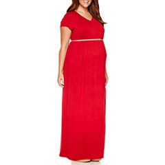 Planet Motherhood Short Sleeve Maxi Dress-Plus Maternity