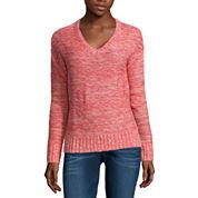 Arizona Long Sleeve V Neck Pullover Sweater-Juniors