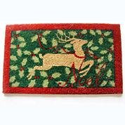 Holly Reindeer Rectangle Doormat - 18