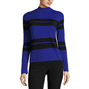 Worthington Long Sleeve Mock Neck Sweater Knit Pullover Sweater