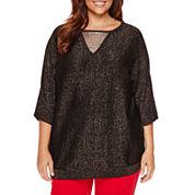 Worthington Long Sleeve Scoop Neck Pullover Sweater-Plus