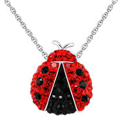 Sterling Silver Crystal Lady Bug Pendant