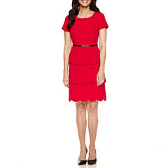Alyx Short Sleeve Sheath Dress-Petites