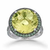 Womens Yellow Quartz Halo Ring