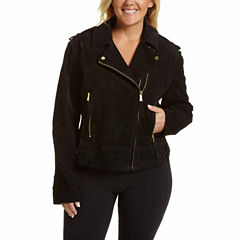 Excelled® Asymmetrical Suede Moto Jacket - Plus